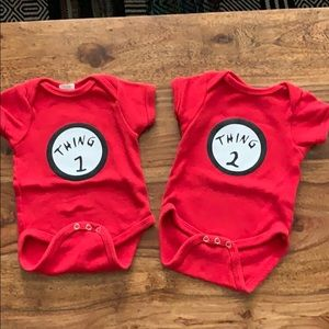 Twin thing 1 & thing 2 onesies set